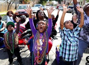 Kids at Mardi Gras Parade